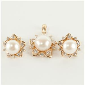 Ladies 10k Yellow Gold Pearl & Cubic Zirconia Earring / Pendant Set .90ctw
