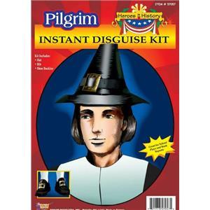 Pilgrim Man Instant Disguise Costume Kit Hat Shoe Buckles and Bib Thanksgiving