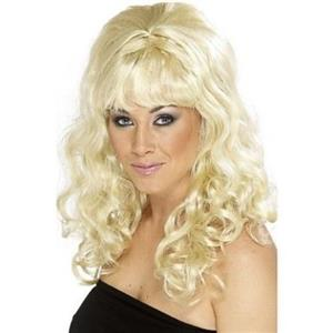 Blonde Cindy Wig Long Beehive with Curls and Bangs