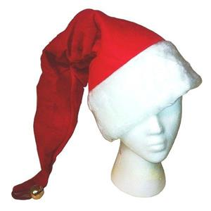 Long Red Plush Christmas Santa Hat with Bell