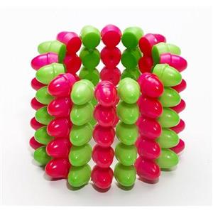 80s Punk Club Candy Rounded 5 Row Spike Green & Pink Costume Accessory Bracelet