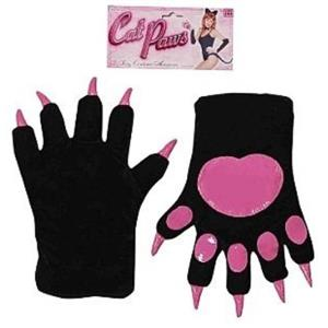Forum Novelties Women's Black with Pink Cat Paws Adult Costume Gloves