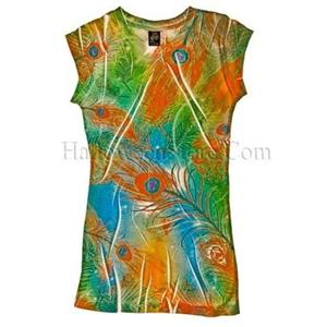 Orange Teal Green Peacock Feather Juniors Sublimation Tee Shirt Size Small