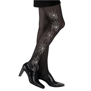 Spiderweb Black Opaque Adult Pantyhose with White Spider Web Design