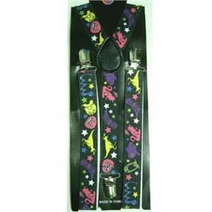 80's Black with Neon Monster Dinosaur Adjustable Suspenders