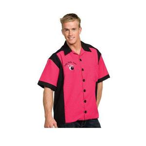 Fuchsia and Black Costume Bowling Shirt with Logo
