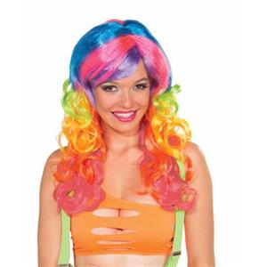 Club Candy: Candi Swirl Long Multi Colored Curly Wig with Bangs