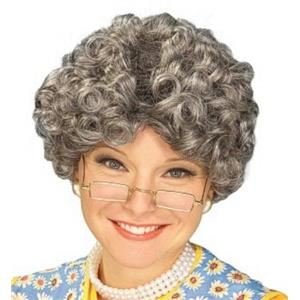 Yo Momma Short Curly Gray Granny Adult Wig