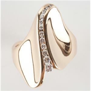 Ladies 14k Yellow Gold Round Cut Graduated Diamond Ring .20ctw