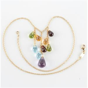 Ladies 18k Yellow Gold Amethyst & Multi-Stone Briolette Necklace 37.5ctw