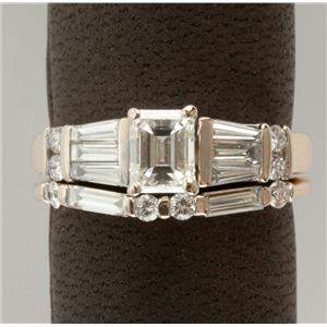 Ladies 14k White Gold Emerald Cut Diamond Solitaire Engagement Ring Set 1.18ctw