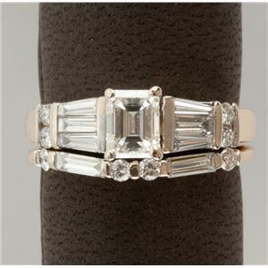 Ladies 14k White Gold Emerald Cut Diamond Solitaire Engagement Ring Set 1.18ctw