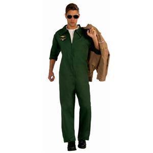 Men's Green Aviator Pilot Jumpsuit Adult Costume