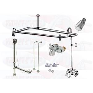 """Chrome Clawfoot Tub Faucet Add-A-Shower Kit W/""""D""""-Ring Curtain Rod, Drain & Supplies"""