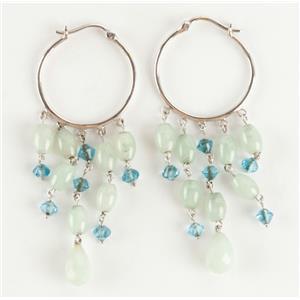 Ladies 14k White Gold Briolette Cut Jade & Blue Stone Hoop Earrings