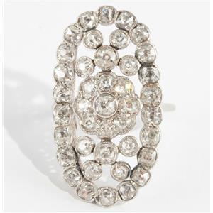 Ladies Vintage 1880's Platinum Old Mine Cut Diamond Oval Cluster Ring 1.6ctw