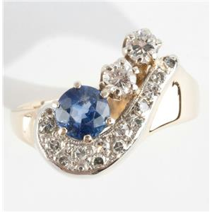 "Ladies 14k Yellow Gold Round Cut ""A"" Sapphire & Diamond Ring .88ctw"