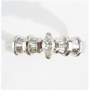 Ladies Platinum Diamond Solitaire Engagement Ring W/ Diamond Accents .60ctw
