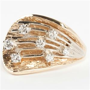 "Ladies 14k Yellow & White Gold Round Cut ""G"" Diamond Cocktail Ring .39ctw"