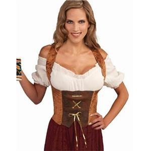 Womens Large Brown Renaissance Maiden Corset Top Adult Costume