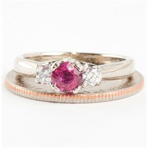 """Ladies 14k White Gold """"AA"""" Ruby Solitaire Engagement Ring W/ Diamonds .94ctw"""