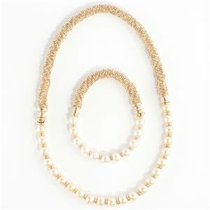 Ladies Stunning 14k Yellow Gold Natural Pearl Necklace & Bracelet Set 115.0g