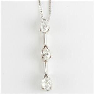 "Ladies 14k White Gold Pear Cut Three-Stone Diamond Pendant W/ 18"" Chain .37ctw"
