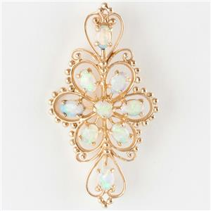 """Stunning Vintage 1950's 14k Yellow Gold Oval Cut Natural """"AAA"""" Opal Pin 2.6ctw"""