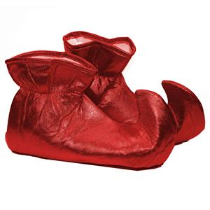 Red Cloth Elf Shoes Christmas Costume Accessory
