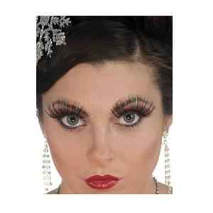 Women's Sexy Black Red and Green Tinsel Christmas Costume False Eyelashes