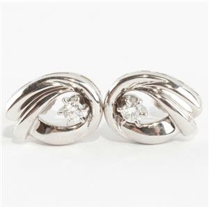 Ladies 14k White Gold Round Cut Diamond Solitaire Post Earrings .14ctw
