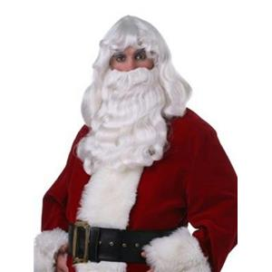 Professional Quality Deluxe Santa Claus White Wig and Beard Christmas