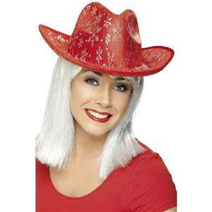Red Country Cowboy Winter Christmas Hat with Snowflakes