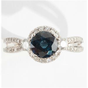 Ladies 14k White Gold Sapphire Solitaire Engagement Ring W/ Diamonds 2.71ctw