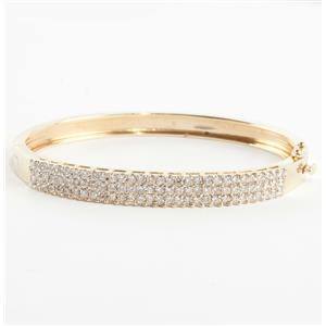 Ladies Stunning 14k Yellow Gold Round Cut Diamond Bangle Bracelet 1.35ctw