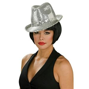 Silver Sequin Fedora Costume Hat