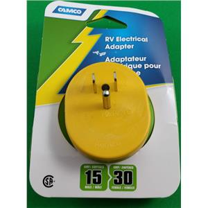 Camco 55223 RV Motorhome Trailer Electrical Park Adapter 15M to 30F