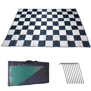 RV Patio Awning Mat Outdoor 9x12 Black Silver Checkered 9x12C