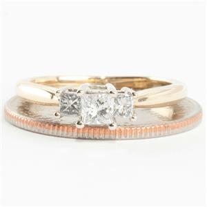 Ladies 14k Yellow & White Gold Three Stone Diamond Engagement Ring .47ctw