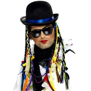 Boy George Chameleon Bowler Derby Hat with Plaits
