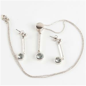 Ladies 18k White Gold Aquamarine & Diamond Necklace / Earring Set 2.45ctw