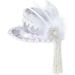 White Ghost Lace Mini Top Hat