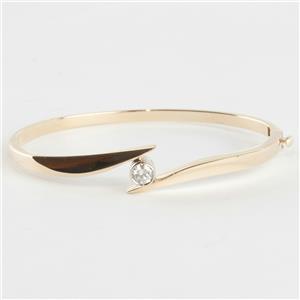 Ladies 14k Yellow Gold Round Cut Diamond Solitaire Hinged Bangle Bracelet .47ct