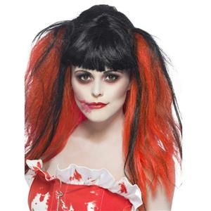 Women's Black and Red Blood Drip Wig Bunches with Blood Effect