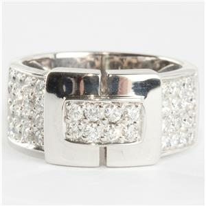 "Ladies 18k White Gold Round Cut ""F"" Diamond Modern Pave Style Ring 1.2ctw"