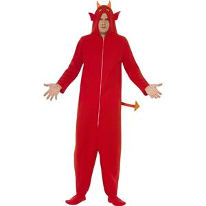 Devil Jumpsuit with Hood Adult Costume Size Small
