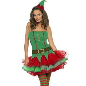 Womens Fever Sexy Red and Green Elf Tutu Dress Adult Costume Size Small