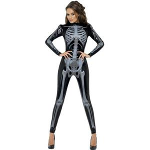 Fever Miss Whiplash Skeleton Catsuit Adult Costume Size Large