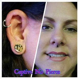 2 No Pierce Fake Lip and Nose Rings - Silver Captive Hoop Ring