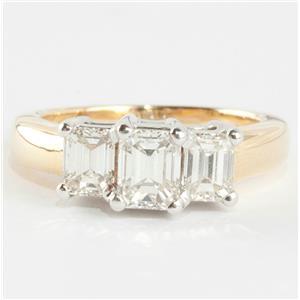 """Ladies 18k Yellow & White Gold """"G"""" Diamond Three-Stone Engagement Ring 1.41ctw"""